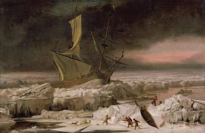 Ice Floe Painting - Arctic Adventure, Or A Ship In Distress by Abraham Danielsz. Hondius