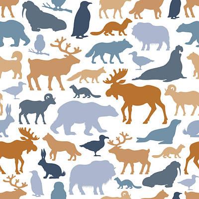 Arctic Animals Pattern Art Print by Alonzodesign