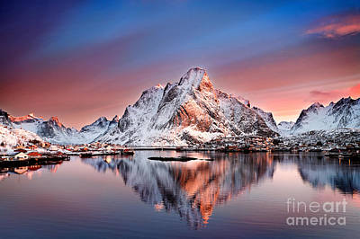 Arctic Dawn Over Reine Village Print by Janet Burdon