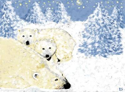 Painting - Arctic Family - Getting Cozy by LCS Art