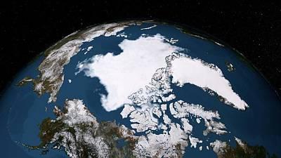 Decline Photograph - Arctic Ice Minimum Extent by Nasa/goddard Scientific Visualization Studio