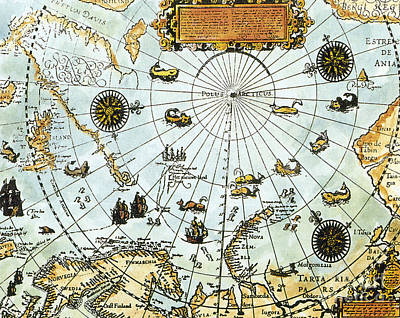 Photograph - Arctic Map By William Barents 1588 by Science Source