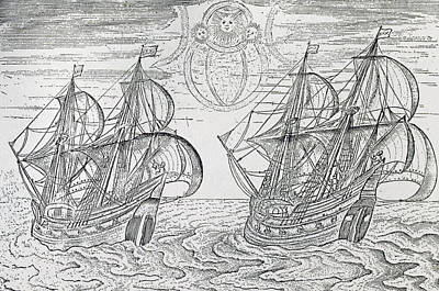 Sailboat Ocean Drawing - Arctic Phenomena From Gerrit De Veer S Description Of His Voyages Amsterdam 1600 by Netherlandish School