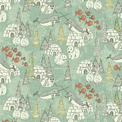 Arctic Fox Painting - Arctic Retro Pattern by Sharon Turner