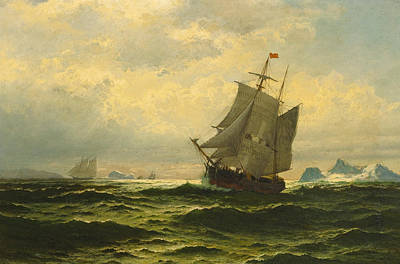 Painting - Arctic Whalers Homeward Bound by William Bradford