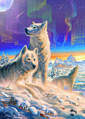 Vertical Digital Art - Arctic Wolves  by Adrian Chesterman