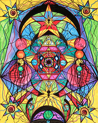 Mandala Painting - Arcturian Ascension Grid by Teal Eye  Print Store