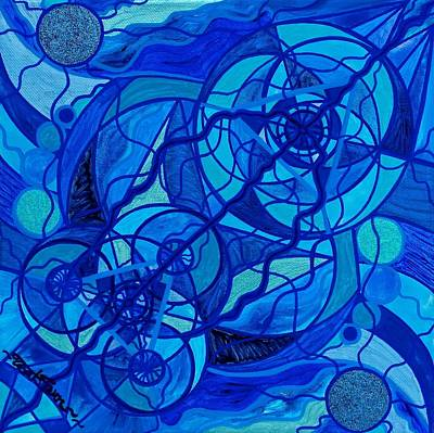 Teal Painting - Arcturian Calming Grid by Teal Eye  Print Store