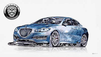 Digital Art - Arden Jaguar Xf Aj 21 With 3d Badge-logo by Serge Averbukh
