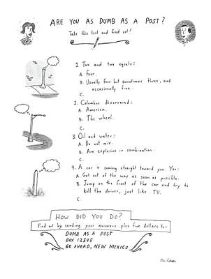 Mental Drawing - Are You As Dumb As A Post? by Roz Chast