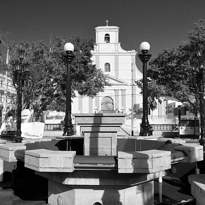Photograph - Arecibo Church And Plaza B W by Ricardo J Ruiz de Porras