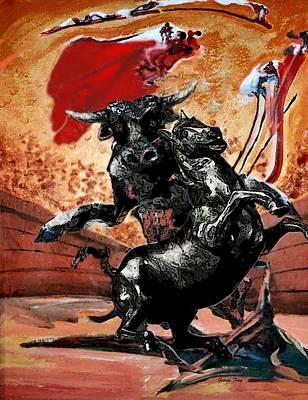 Bullfight Digital Art - Arena Bullfight. by George Flay