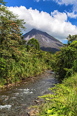 Arenal From The Rio Agua Caliente Art Print by Andres Leon