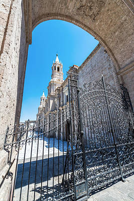 Mountain Landscape Rights Managed Images - Arequipa Cathedral and Gate Royalty-Free Image by Jess Kraft