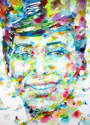 Painting - Aretha Franklin - Watercolor Portrait by Fabrizio Cassetta