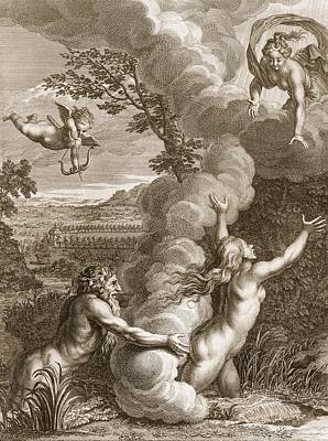 Artemis Wall Art - Drawing - Arethusa Pursued By Alpheus And Turned by Bernard Picart