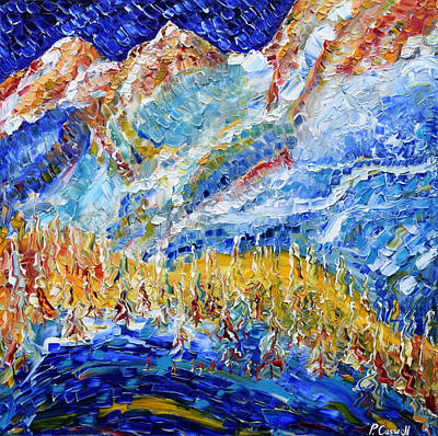 Painting - Argentiere Near Chamonix Ski Scene  by Pete Caswell