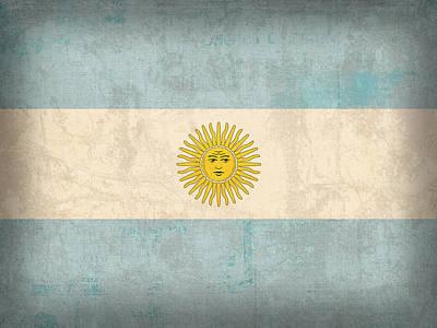 Flag Mixed Media - Argentina Flag Vintage Distressed Finish by Design Turnpike