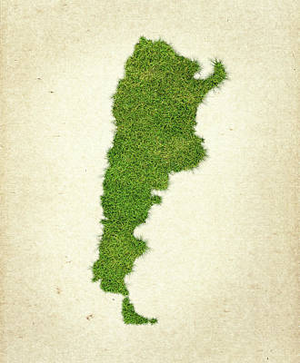 Argentina Grass Map Art Print by Aged Pixel