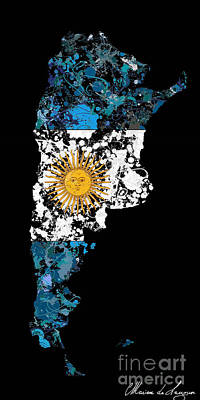 Cartography Digital Art - Argentina Map Flag by Marion De Lauzun