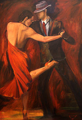 Red Dress Painting - Argentine Tango by Sheri  Chakamian