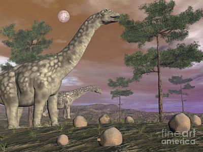 Long Leaf Pine Tree Digital Art - Argentinosaurus Dinosaur Eating Leaves by Elena Duvernay