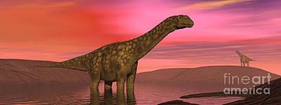 Animals Digital Art - Argentinosaurus Dinosaurs Amongst by Elena Duvernay
