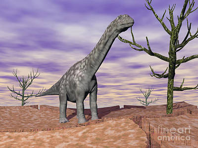 Cracks Digital Art - Argentinosaurus Standing On The Cracked by Elena Duvernay