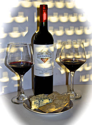 Malbec Photograph - Argentine Previa Wine And Cheese by Venetia Featherstone-Witty
