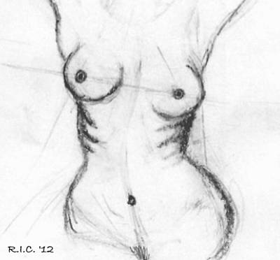 Aria Giovanni Drawing - Aria Giovanni Nude Study II by Richard Ian Cohen