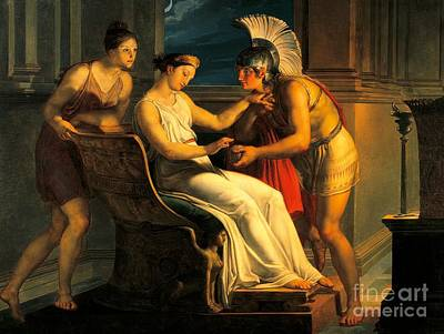 Thread Painting - Ariadne Giving Some Thread To Theseus To Leave Labyrinth by Pelagius Palagi