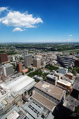 Arial View Of Calgary Facing North East Art Print by Lisa Knechtel