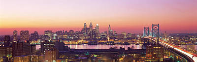 Arial View Of The City At Twilight Art Print by Panoramic Images