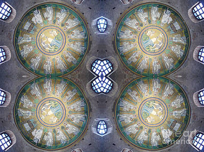 Mosaic Mirrors Photograph - Arian Baptistry Mosaics Ravenna Italy by Andy Prendy