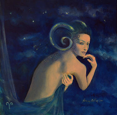 Aries From Zodiac Series Art Print by Dorina  Costras