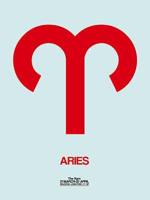 Gemini Digital Art - Aries Zodiac Sign Red by Naxart Studio