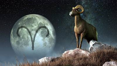 Aries Zodiac Symbol Art Print by Daniel Eskridge