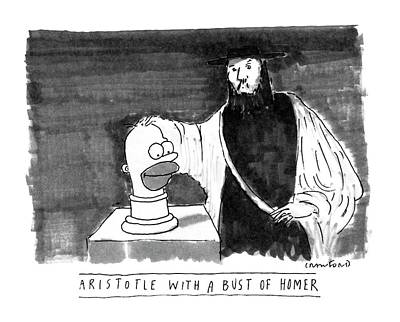Cartoon Characters Drawing - Aristotle With A Bust Of Homer: by Michael Crawford