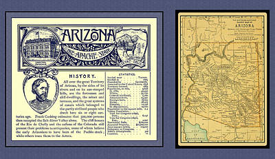 Photograph - Arizona 1891 Map And Handbook Entry by Phil Cardamone
