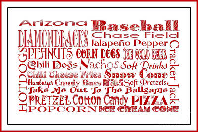 Digital Art - Arizona Diamondbacks Game Day Food 3 by Andee Design