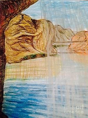 Water Activity Drawing - Arizona Falls  by Ishy Christine Degyansky