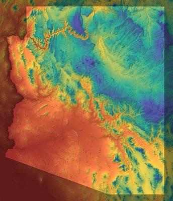 Arizona Map Art Print by Paul Hein