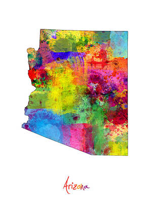 Phoenix Digital Art - Arizona Map by Michael Tompsett