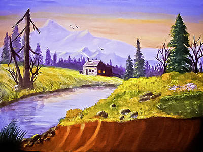 Cathedral Rock Painting - Arizona Mountain Cabin by Bob and Nadine Johnston