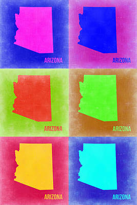 Modern Poster Painting - Arizona Pop Art Map 2 by Naxart Studio