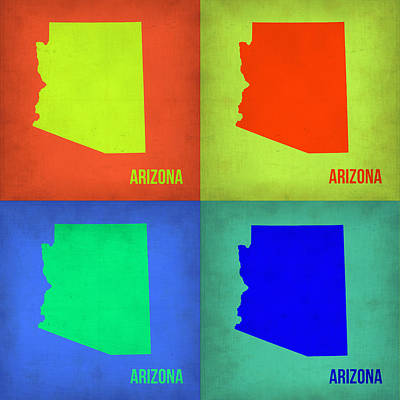 Arizona Painting - Arizona Pop Art Map 3 by Naxart Studio