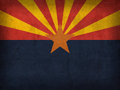 Arizona State Flag Art On Worn Canvas Art Print by Design Turnpike