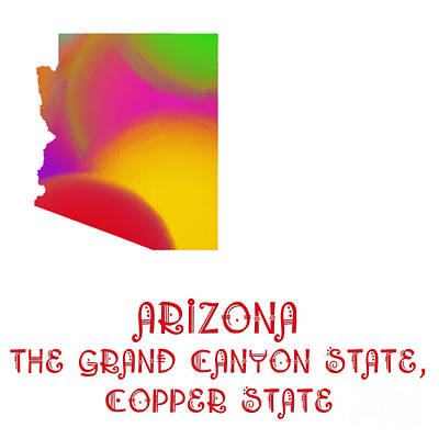 Digital Art - Arizona State Map Collection 2 by Andee Design