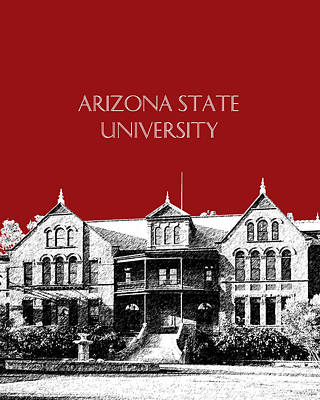 Building Digital Art - Arizona State University - The Old Main Building - Dark Red by DB Artist