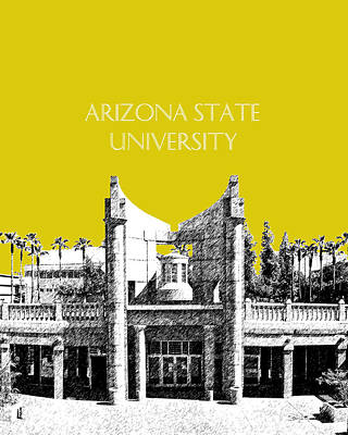 University Of Arizona Digital Art - Arizona State University 2 - Hayden Library - Mustard Yellow by DB Artist